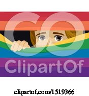 Clipart Of A Scared Gay Man Peeking Behind Rainbow Blinds Royalty Free Vector Illustration