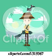 Clipart Of A Wildlife Photographer With Equipment And A Bird On His Head Royalty Free Vector Illustration