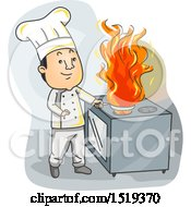 Clipart Of A Chef Cooking With Fire In A Kitchen Royalty Free Vector Illustration
