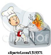 Clipart Of A Chef Using A Fire Extinguisher On A Stove Royalty Free Vector Illustration by BNP Design Studio