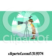 Clipart Of A Wildlife Photographer With A Bird On His Head Royalty Free Vector Illustration by BNP Design Studio