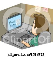 Clipart Of A Cartoon Man Researching Formula Of Physics Royalty Free Vector Illustration