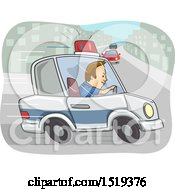 Clipart Of A Police Officer In Pursuit In A Car Royalty Free Vector Illustration