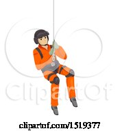 Search And Rescue Man Suspended In A Harness