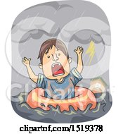 Clipart Of A Cartoon Man In An Inner Tube During A Flood Royalty Free Vector Illustration