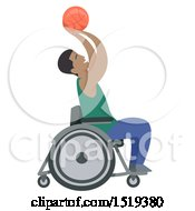 Clipart Of A Black Basketball Player In A Wheelchair Royalty Free Vector Illustration by BNP Design Studio