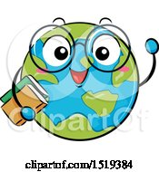 Globe Character Waving And Holding Books