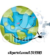 Clipart Of A Globe Mascot Washing His Hands Royalty Free Vector Illustration by BNP Design Studio