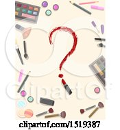 Clipart Of A Lipstick Question Mark In A Border Of Makeup Royalty Free Vector Illustration by BNP Design Studio