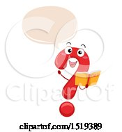 Clipart Of A Question Mark Character Holding A Book And Talking Royalty Free Vector Illustration