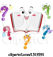 Clipart Of A Happy Open Book Character Surrounded By Colorful Question Marks Royalty Free Vector Illustration
