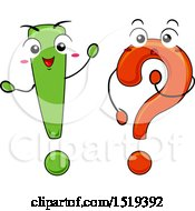 Clipart Of A Question Mark And Exclamation Point Waving And Thinking Royalty Free Vector Illustration by BNP Design Studio