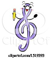Clipart Of A GClef Music Character Holding A Pencil Royalty Free Vector Illustration by BNP Design Studio