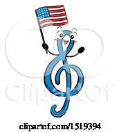 Clipart Of A GClef Music Character Holding An American Flag Royalty Free Vector Illustration by BNP Design Studio