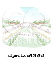 Clipart Of A Water Way And A Bridge Royalty Free Vector Illustration by BNP Design Studio
