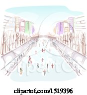 Clipart Of A Scene Of People Ice Skating In A City Royalty Free Vector Illustration by BNP Design Studio