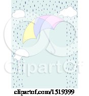 Clipart Of A Border Of Rain Clouds And An Umbrella Royalty Free Vector Illustration