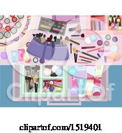 Clipart Of A Background Of Makeup Royalty Free Vector Illustration