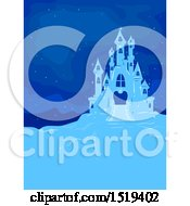 Clipart Of A Blue Ice Castle At Night Royalty Free Vector Illustration