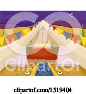 Clipart Of A Desert Glamping Tent With A Bed Royalty Free Vector Illustration by BNP Design Studio