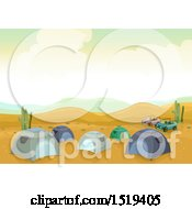 Clipart Of A Campground With Tents In The Desert Royalty Free Vector Illustration