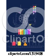 Clipart Of A Factory Machine Pouring Different Colors From The Rainbow To A Jar Royalty Free Vector Illustration by BNP Design Studio