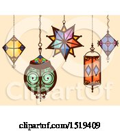 Clipart Of Hanging Moroccan Geometric Lamps Royalty Free Vector Illustration by BNP Design Studio