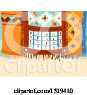 Clipart Of Geometric Hanging Moroccan Rugs Royalty Free Vector Illustration by BNP Design Studio