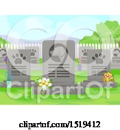Clipart Of A Dog Cemetery With Flowers And Tombstones Royalty Free Vector Illustration