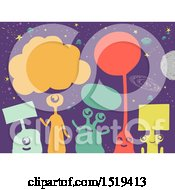 Clipart Of A Group Of Colorful Aliens With Boards In Outer Space Royalty Free Vector Illustration by BNP Design Studio