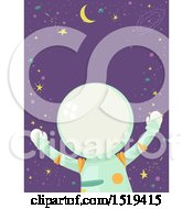 Clipart Of A Floating Astronaut Over Outer Space Royalty Free Vector Illustration by BNP Design Studio