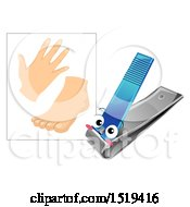 Clipart Of A Nail Clipper Mascot By A Hand And Foot Royalty Free Vector Illustration by BNP Design Studio