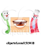 Clipart Of A Mouth With A Toothbrush And Paste Royalty Free Vector Illustration