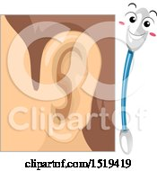 Human Ear With A Cotton Bud Mascot