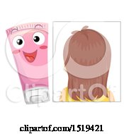 Clipart Of A Rear View Of A Head Of Hair And A Bottle Of Shampoo Royalty Free Vector Illustration by BNP Design Studio