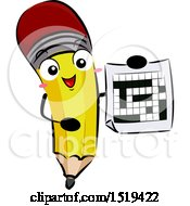Clipart Of A Pencil Character Holding A Crossword Puzzle Royalty Free Vector Illustration