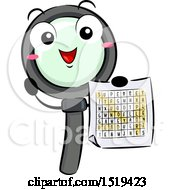Clipart Of A Magnifying Glass Character Holding A Word Search Royalty Free Vector Illustration by BNP Design Studio