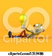 3d Zombie Holding A Light Bulb On A Yellow Background