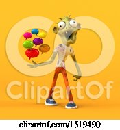 Clipart Of A 3d Zombie Holding Messages On A Yellow Background Royalty Free Illustration