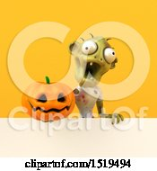 Clipart Of A 3d Zombie Holding A Jackolantern On A Yellow Background Royalty Free Illustration