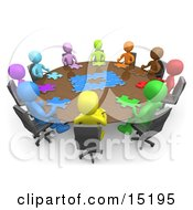 Group Of Colorful And Diverse People Holding A Meeting And Trying To Solve A Jigsaw Around A Large Rectangular Conference Table In An Office Clipart Illustration Image