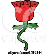 Poster, Art Print Of Cartoon Rose With Thorns