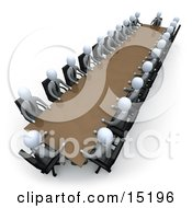 Group Of Grey People Holding A Meeting Around A Large Rectangular Conference Table In An Office Clipart Illustration Image
