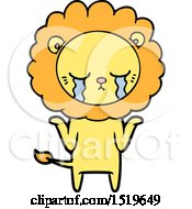 Crying Cartoon Lion by lineartestpilot