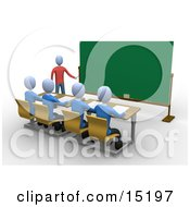 Blue Teacher Standing In Front Of A Blank Chalkboard And Using A Pointer Stick While Teaching A Row Of Focused Students In A Classroom Clipart Illustration Image