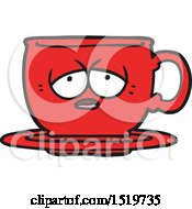 Cartoon Tired Tea Cup by lineartestpilot