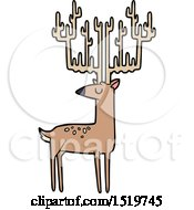 Cartoon Stag With Huge Antlers by lineartestpilot