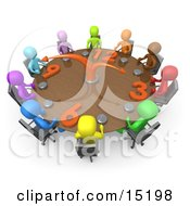 Group Of Colorful And Diverse Busy People On A Tight Schedule Holding A Meeting About Labour Hours Around A Giant Clock Conference Table Clipart Illustration Image