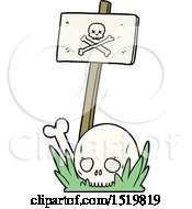 Cartoon Skull Bones And Warning Sign