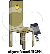 Poster, Art Print Of Cartoon Chair With Graduate Cap